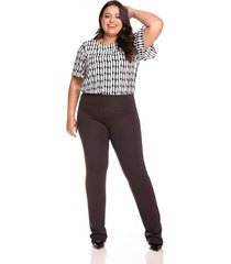 calça leg & cia legging reta marrom