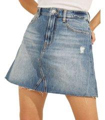 guess distressed denim mini skirt