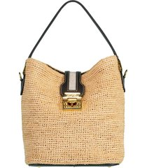 black murphy raffia bucket bag