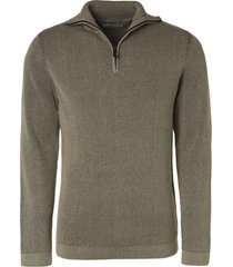 no excess pullover high neck half zip stone