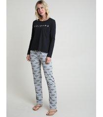 pijama feminino friends manga longa preto