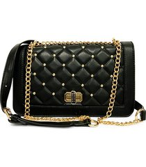 badgley mischka women's medium quilted faux leather crossbody bag - black