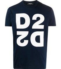dsquared2 mirrored d2 print t-shirt - blue