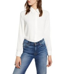 women's halogen hidden button long sleeve blouse