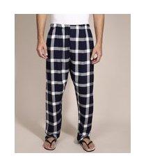 calça de pijama em flanela estampada xadrez com bolso azul marinho