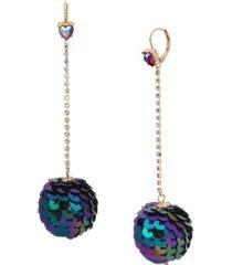 betsey johnson sequin ball linear earrings