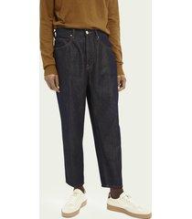 scotch & soda superwijde tapered-fit jeans van katoen – pyrite