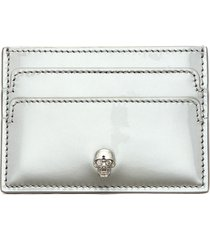 skull charm patent leather card holder