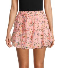 loveshackfancy women's ruffled silk mini skirt - sunset pink - size l