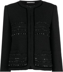 alberta ferretti bead-embellished tweed jacket - black