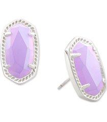 kendra scott rhodium-plated colored crystal stud earrings