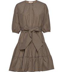 nini checks korte jurk bruin custommade