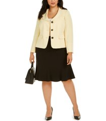 le suit plus size flare-hem skirt suit