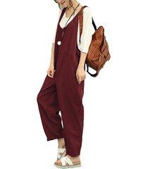 celmia button keyhole design plain sleeveless jumpsuit