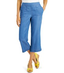 charter club petite cropped chambray pants, created for macy's