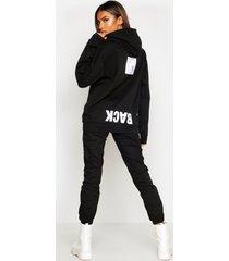 back print slogan hoodie, black