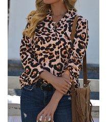camicetta a maniche lunghe con scollo a v con stampa leopardata da donna