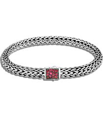 classic chain' birthstone african ruby sapphire sterling silver bracelet - july