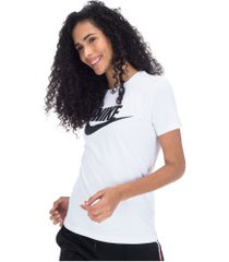 camiseta nike sportswear essential icon futura - feminina - branco/preto
