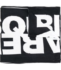 dsquared2 logo winter scarf - black