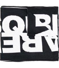 dsquared2 logo winter scarf - black
