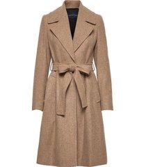 balia tweed belted coat wollen jas lange jas beige french connection