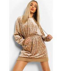 velours sweatshirt jurk met capuchon en b reliëf, champagne