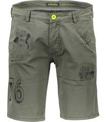 shockly bermuda opdruk groen slim fit