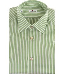 man white and green striped popeline shirt