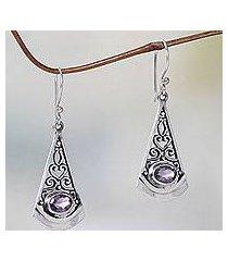 amethyst dangle earrings, 'mount agung lilac' (indonesia)
