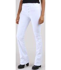 calça de sarja feminina sawary flare cintura alta com botões branca