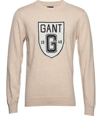 d2. holiday intarsia shield crew sweat-shirt trui crème gant