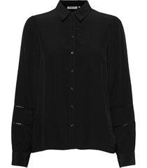 ellene melody ls embroidery shirt blus långärmad svart moss copenhagen