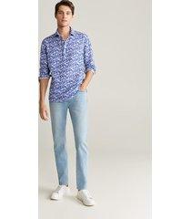 bedrukt linnen regular-fit overhemd
