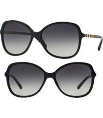 women's burberry 58mm sunglasses - black