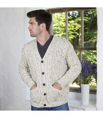 pure wool traditional v neck cardigan beige large