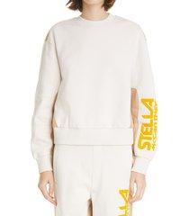 stella mccartney logo organic cotton sweatshirt, size 14 us in gesso at nordstrom