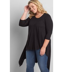 lane bryant women's 3/4-sleeve asymmetrical high-low tunic 26/28 black