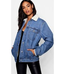 tall borg lined jean jacket, mid blue