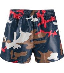 boss camouflage print swim shorts - blue