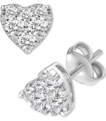 diamond heart cluster stud earrings (3/4 ct. t.w.) in 14k white or rose gold