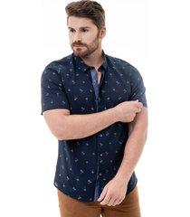 camisa porto & co manga curta slim fit azul