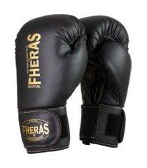 luva boxe muay thai fheras top black in gold 14oz