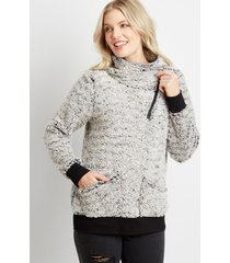 maurices womens gray sherpa cowl neck pullover sweatshirt