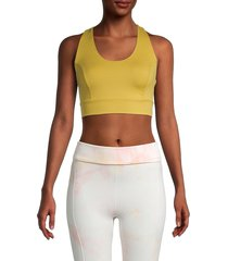 free people movement women's synergy crop top - yellow - size xs
