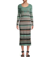 m missoni women's striped ribbed midi dress - fair green - size 36 (0)