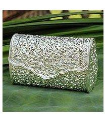 sterling silver plated clutch handbag, 'jasmine' (thailand)