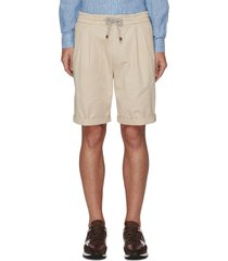 front pleat garment dye drawstring bermuda shorts