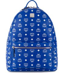 mcm all-over logo print backpack - blue