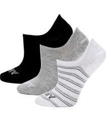 dkny women's 3-pack logo no-show socks - grey stripe
